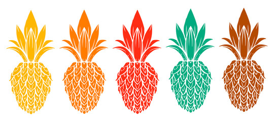 Pineapples set isolated on white background