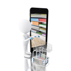 3d White people with trolley and smartphone. Shop online concept