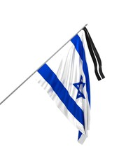 3d illustration of mourning flag of Israel / Honoring the memory of the victims
