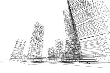 city view, architecture abstract, 3d illustration