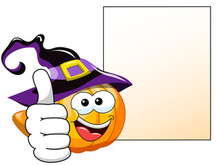 Halloween Cartoon pumpkin thumb up blank banner