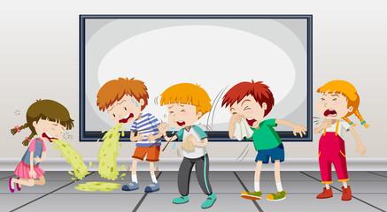 Children being sick at school