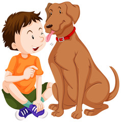 Dog licking boy on face
