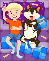 Boy sleeping with dog in bed
