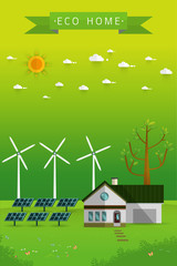 Poster and banner of eco friendly house