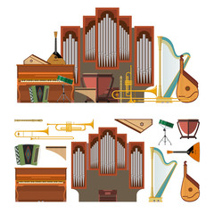 Vector set of musical instruments in flat style. Design elements and music icons