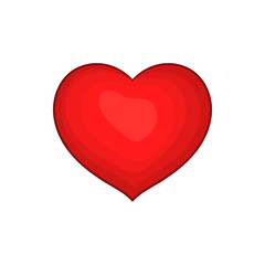 Red heart icon in cartoon style on a white background
