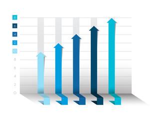 3D chart, graph. Blue color. Infographics business elements.