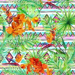 Tribal design, tropical leaves, exotic flowers. Repeating pattern. Native watercolor