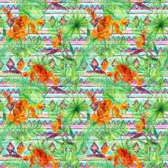 Tribal design, tropical leaves, exotic flowers. Repeating pattern. Ethnic watercolor