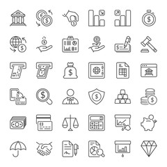 finance thin line iconset