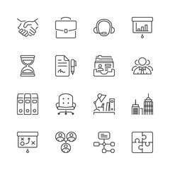 business thin line iconset 1