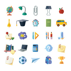 vector icons set of school elements