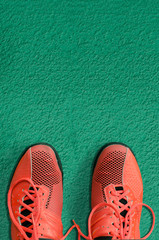 Top view of red sport shoes on green background