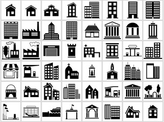 Obraz Building Icons Set - Black and White Icon Collection, Vector Illustration - fototapety do salonu