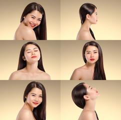 Beautiful Asian Woman Collage. Long dark hair. Natural. Beauty.