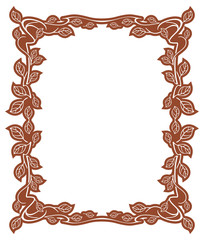 Elegant frame with leaves. Design element for advertisements, logo, banners, labels, prints, posters, web, presentation, invitations, weddings, greeting cards, albums. Vector clip art.