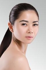 Beautiful Asian Woman Portrait. Long dark hair. Natural. Beauty.