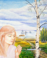 Oil painting.Portrait of a girl in a landscape