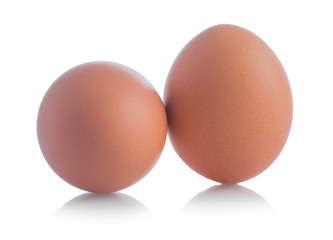 Chicken eggs close-up isolated on white background.
