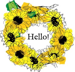 Vector floral wreath with yellow sunflowers and copyspace