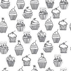 monochrome seamless pattern with cupcakes, cute background.