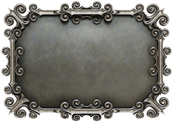 metal plate framed. isolated on white background. 3D illustration.