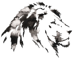 black and white monochrome painting with water and ink draw lion illustration