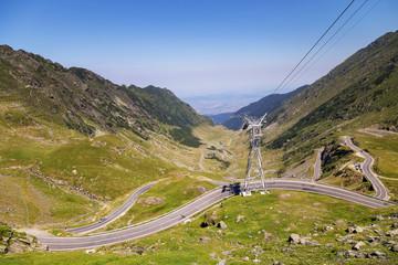 Beautiful mountain road, Transfagarasan highway in a sunny summer morning