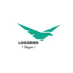 Isolated, cartoon, geek, strict eagle flying, triangular vector shape, minimalism, flat, stylish, geometric stylized logotype, turquoise color logo template, bird, wings, feathers, eagle element logo