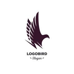 Isolated, cartoon, geek, strict eagle flying, triangular vector shape, minimalism, flat, stylish, geometric stylized logotype, black color logo template, bird, wings, feathers, eagle element logo