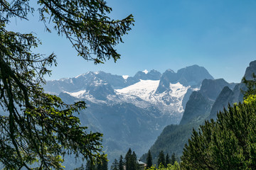 View to Dachstein glacier with snow