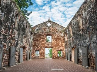 Inside the ruin of St Paul's Church