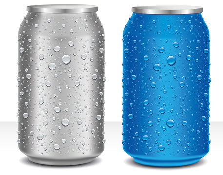 Aluminum Cans in grey and blue with fresh water drops