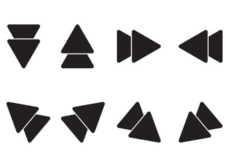 Set of icons of black arrows in different directions