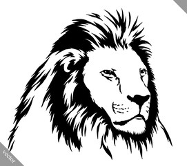 black and white linear paint draw lion vector illustration