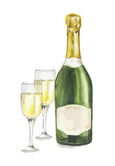 Isolated watercolor champagne bottle with glasses on white background. Alcohol bottle for decoration of menu, cafe, restaurant.
