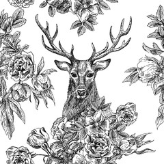 seamless patternr with deer and flowers