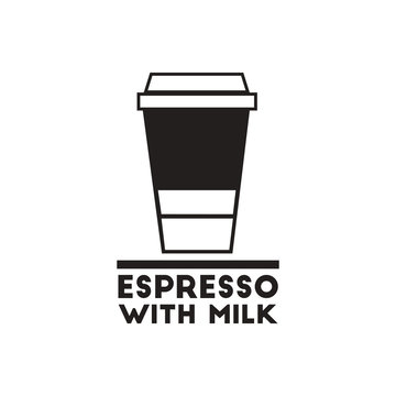 black vector icon on white background espresso with milk
