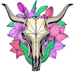 Bull skull on a background of lilies