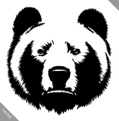 black and white ink draw bear vector illustration