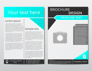 Vector flyer brochure design geometric template abstract. Black blue color.