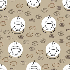 Seamless pattern with hand drawn coffee cup and different cookie
