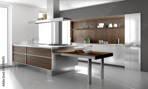 Moderne Einbaukuche Mit Holz Holzkuche Kuche Stock Photo And