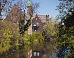 Copenhagen, Denmark - Gustaf Church from 1911 on the banks of Kastellet moat fortress