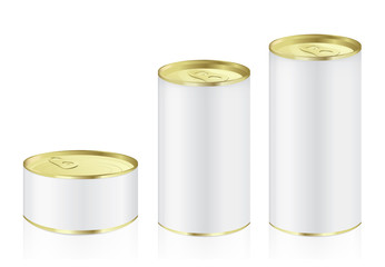 Aluminum can have gold color lid in difference size ideal for food and other