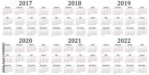 Vector: Six year calendar - 2017, 2018, 2019, 2020, 2021 and 2022 in ...