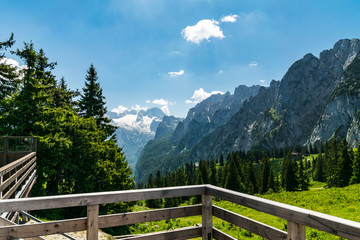 Panoramic view to Dachstein glacier over terrace