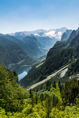 Panoramic view from above over the lake Gosausee to Dachstein glacier