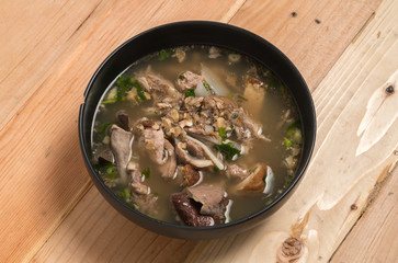 Pork Spare Ribs Rice Noodles Soup on wood background